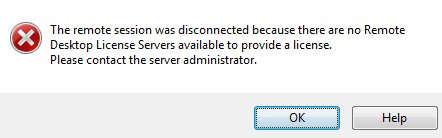 No Remote Desktop License Servers Available